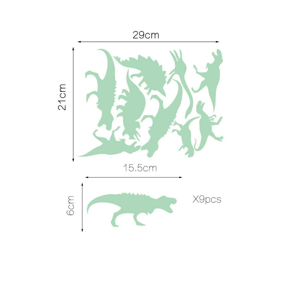 ufengke Glow in The Dark Dinosaurs Wall Stickers Luminous Removable Vinyl Skirting Board Wall Decals for Children's Room Bedroom, 9 Pieces FangKuai
