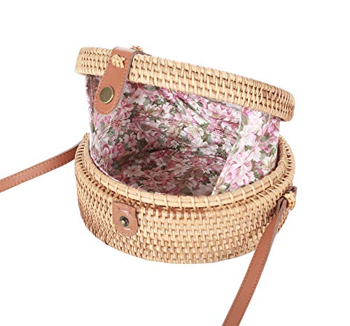 Round Rattan Bag Handmade Bali Ata Straw Woven Circle Crossbody Handbag for Women with Real Leather ()