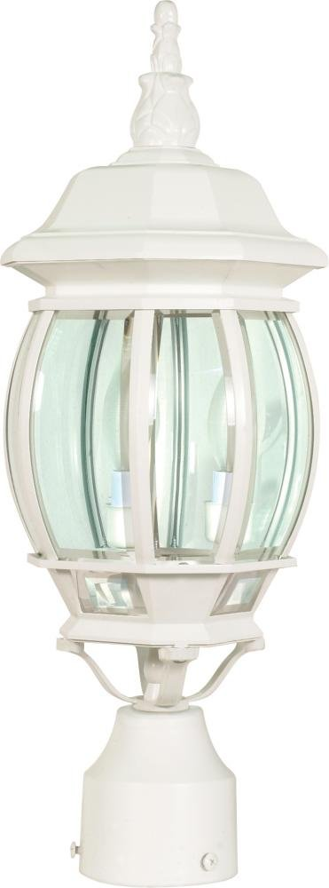 Nuvo 60/897 Post Lantern with Clear Beveled Panels, White