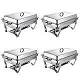 FORAVER Chafing Dish Set 4 Pack 8 Quart Each Chafer Dish Set Full Size Stainless Steel Chafer with Foldable Frame for Catering Buffet Warmer Tray Kitchen Party Dining Chafing Dish (Pack of 4)