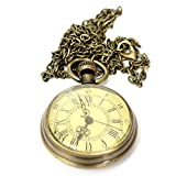 Pocket Watch Vintage Bronze Yellow Color Dial Roman Number Chain Gift