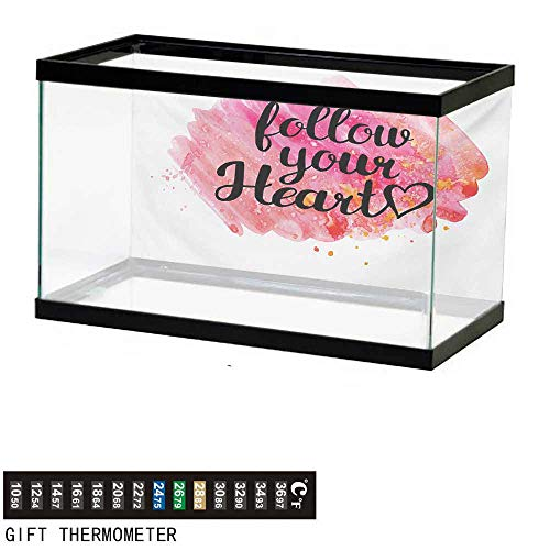 wwwhsl Aquarium Background,Quote,Typography Phrase Follow Your Heart on Watercolor Effect Background,Black Hot Pink and Coral Fish Tank Backdrop 48