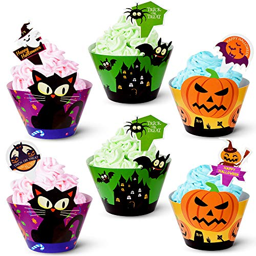 90pack Halloween Cupcake Decorations 45 Cupcake Wrapper 45 Cupcake Toppers Liner Muffin Cases Pumpkin Spider Ghost Halloween Party Supplies Party Favors Baby Shower Party Birthday Decoration CooFood