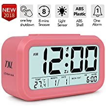 Digital Alarm Clock Easy to Set Student Clock, Large LCD Display Snooze with Optional Backlight, Electronic Kids' Room Clock, Month, Date, Temperature and Light Sensor Display Office Table Clock,Pink