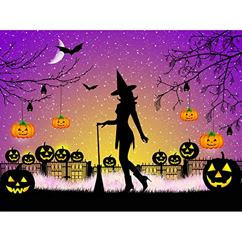 (Wee Blue Coo Mp Painting Illustration Halloween Witch Silhouette Bats Lanterns Pumpkins Large Art Print Poster Wall Decor 18x24)