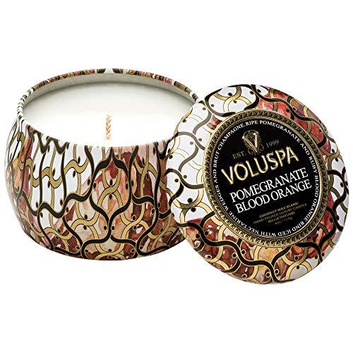 - Voluspa Maison Noir Petite Decorative Tin Candle POMEGRANATE BLOOD ORANGE
