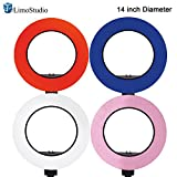 LimoStudio 12'' to 14'' Ring Light 4-COLOR Soft Elastic Cover Diffuser Cloth Kit (Blue, Red, Pink, White) for less Contrast and Soft Lights, Warm to Cool Colors, AGG2398
