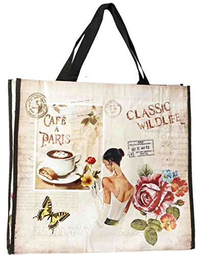 Clayre & Eef bag172 Borsa Shopper plastica Café a Paris ca. 42 x 37 cm