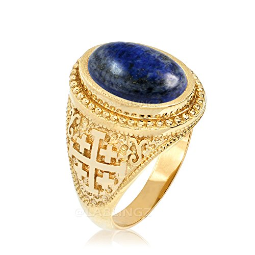 14K Yellow Gold Jerusalem Cross Lapis Lazuli Gemstone Statement Ring (12.5)