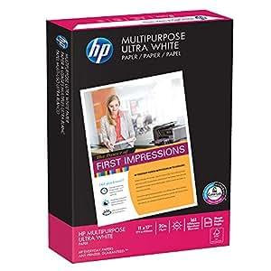 HP Printer Paper, Multipurpose Ultra White, 20lb, 11 x 17, Ledger, 96 Bright - 500 Sheets / 1 Ream (172001R) Made In The USA
