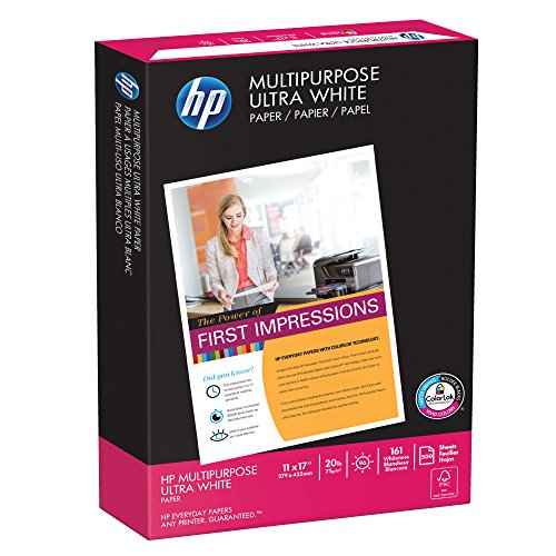HP Printer Paper, Multipurpose20, 11 x 17, Ledger, 20lb, 96 Bright, 500 Sheets / 1 Ream (172001R) Made In The - 17 X 11 Paper