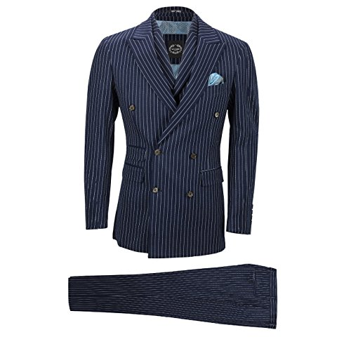 (XPOSED Mens Navy 3 Piece Double Breasted Chalk Stripe Suit Classic Vintage Tailored Fit [Chest UK 36 EU 46,Trouser 30