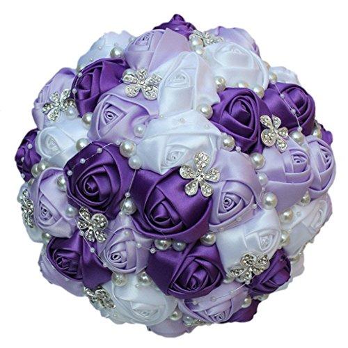 S-SSOY Wedding Bouquet Bride Bridal Brooch Bouquets Bridesmaid Holding Bouquet Roses Diamond Pearl Valentine's Day Confession Corsage Flower, W224 (Dia:24cm, Purple+lilac+white) ()