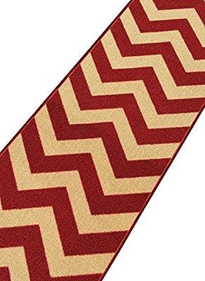 Custom Size Chevron Zig Zag Rubber Backed Non-Slip Hallway Stair Runner Rug Carpet 22 or 31 Inch Wide Choose Your Length