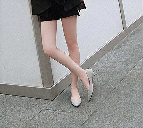 Para Zapatos De Gris Bajo Mujer Tacón Clásico Aguja Mogeek Kitten Ba0q0 bd00cf2970d5