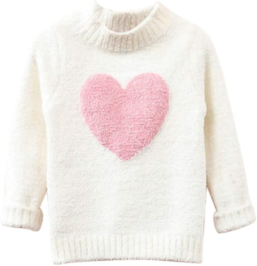 Waymine Winter Sweater Kids Baby Pullover Sweater Heart Red Knit Sweater Coat for Autumn Fall and Winter 18Months-8Years