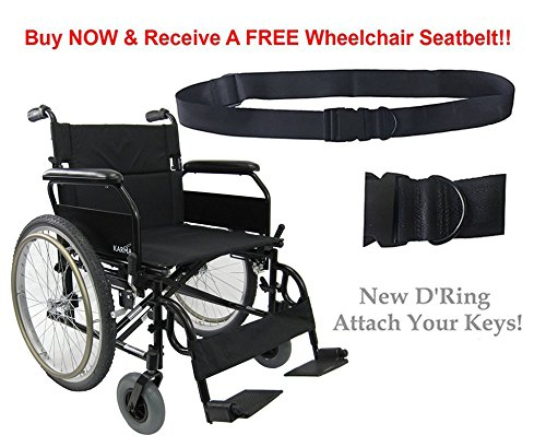 - Karman Lightweight Extra Wide Wheelchair in 22 inch Seat with Flip Back Armrests