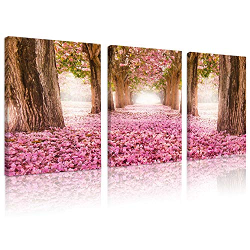 - Natural art Cherry Blossoms Cover The Whole Road Canvas Painting Framed for Living Room Kitchen Office Bar Wall Decor 12x16Inchx3Panels