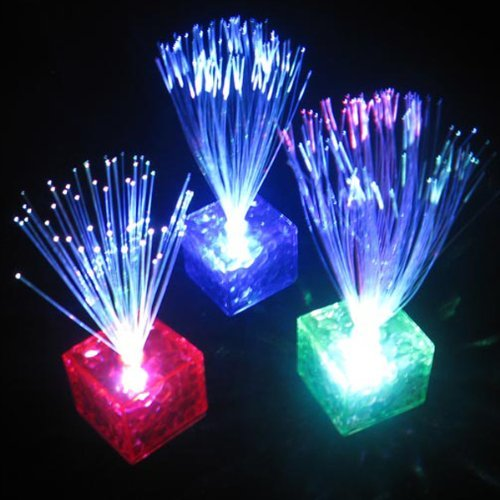 Water & Wood Fiber Optic Light Lamp Multicolor LED Cube Stand Night Home Xmas Party Wedding Decoration by New