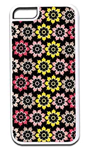 MEIMEI Floral Outlines-Summer Colors- Case for the APPLE ipod touch 5 ONLY!!! -Hard White Plastic Outer Case with Tough Black Rubber LiningLINMM58281