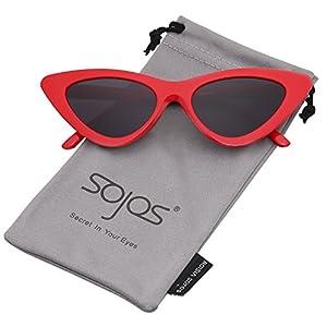 SojoS Clout Goggles Cat Eye Sunglasses Vintage Mod Style Retro Kurt Cobain Sunglasses SJ2044 with Red Frame/Grey Lens
