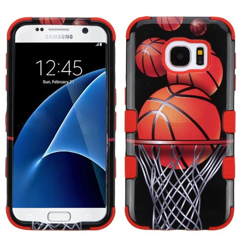 MyBat TUFF Hybrid Cover for Samsung G930 (Galaxy S7) - Basketball Hoop/Red