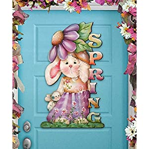 SPRING BUNNY Wreath - Wooden Door Hanger by Jamie Mills Price - Wall decor - Wall Hanging #8457604H 68