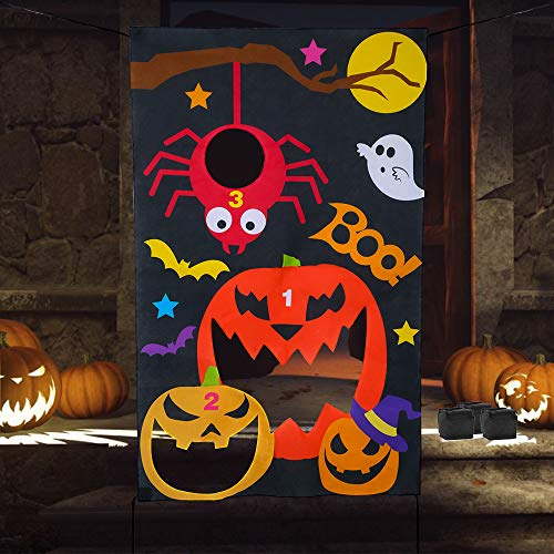 Halloween Party Decorations To Make Yourself (Verkstar Halloween Party Games All Ages Kids Throwing Felt Sandbags Hanging Games with 3 Bean Bags,Halloween Decoration Indoor Outdoor Activity for Party, Carnival,Birthday Christmas)