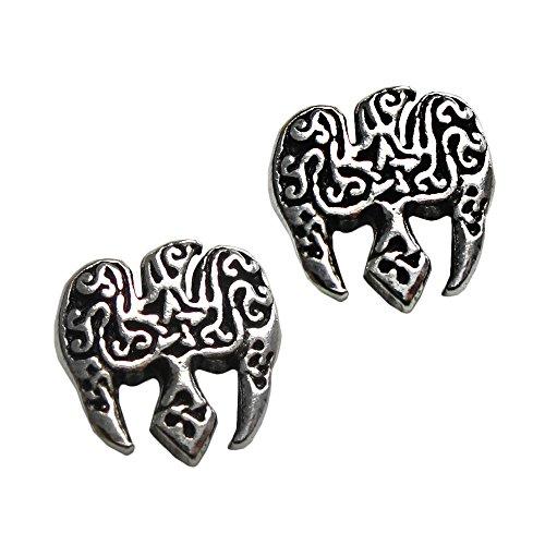 (Sterling Silver Raven Pentacle Pentagram Earring Studs)