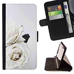 ART WEDDING THEME WHITE ROSES FLOWERS/ Personalizada del estilo del dise???¡Ào de la PU Caso de encargo del cuero del tir????n del soporte d - Cao - For Samsung Galaxy Note 3 III