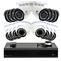 GW 16 Channel H.265 4K 8MP NVR with 8 x 5MP 1920p Dome Camera and 8 x 4MP 1520p Bullet Camera - 2.8~12mm Varifocal lens Outdoor/Indoor Security IP PoE Camera, 4TB Hard Drive