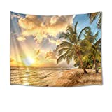 HVEST Sunset Tapestry Ocean Tapestry Wall Hanging Palm Trees on Tropical Beach with Sea Waves Wall Blankets for Bedroom Living Room Dorm Decor,60Wx40H inches