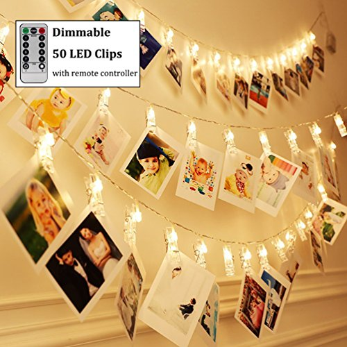 Decute Dimmable 50LED Photo Clips Decorative Lights String Holder for Christmas Tree Bedroom Wedding Party Hanging Photos Pictures Cards Memos, Warm White with Remote Timer Function -