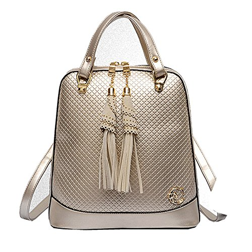 FTSUCQ Womens Tassel Diamond Lattice Totes Shoulder Bags Backpack Travel Daypack Gold Satchels