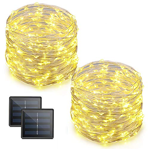 AVEYLUM Solar String Lights Warm White 8 Modes Silver Wire Fairy Light 65.6ft 200 LEDs Waterproof Decoration Lights for Indoor Home Showcase Outdoor Garden Patio Yard Party Wedding Christmas, 2 Packs from AveyLum