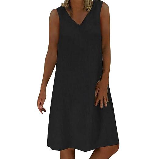 ShenPourtor Dresses for Women Summer V Neck Sleeveless ...