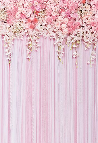 Pink Flowers Backdrop Photography Background Wedding Background Floral Photography Backdrops Dessert Table Decor Birthday Banner Backdrop 5x6.5Feet -