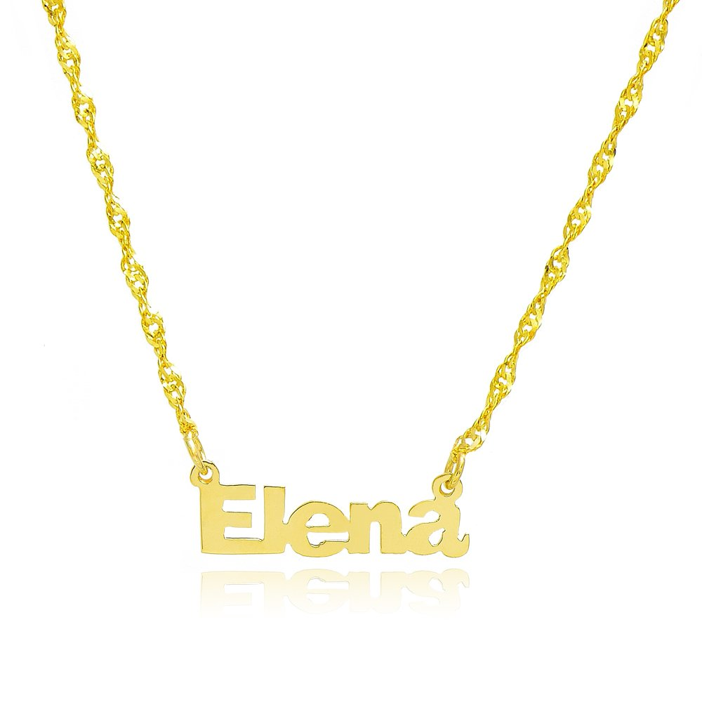 10k Yellow Gold Personalized Name Necklace - Style 7 (18 Inches, Singapore Chain) by Pyramid Jewelry
