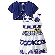 Youngland Baby Girls' Mixed Print and Eyelet Dress with Knit Shrug, White/Navy, 0-3 Months
