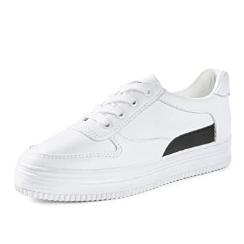 SHI Las Zapatillas de Deporte Planas Ocasionales Blancas de Las Mujeres Forman la Parte Posterior Respirable del Zapato con Cordones Zapatos Inferiores ...