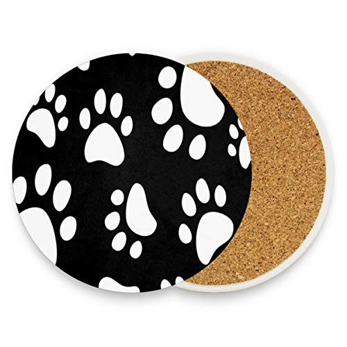 LoveBea Black White Dog Cat Paw Footprints Coasters, Protect Your Furniture from Stains,Coffee, Wood Coasters Funny Housewarming Gift,Round Cup Mat Pad for Home, Kitchen Or Bar 1 Piece -