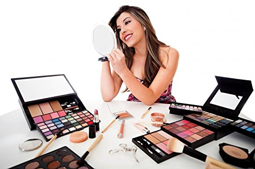 Woman Doing Her Makeup Wall Decal - 18 Inches W x 12 Inches H - Peel and Stick Removable Graphic