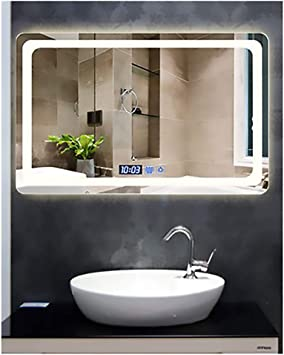 Bathroom Mirror Anti Fog Wall Mounted Makeup Mirror With Led Light Vanity Mirror Led Backlit Touch Switch White Light Warm Light 23 6 31 5 Warm Light Buy Online At Best Price In Uae Amazon Ae