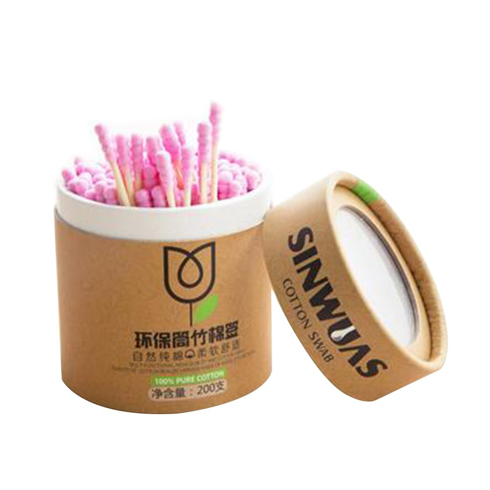 Amyove Wooden Stick Spiral Swab Double Screw Heads Cotton Bud Ear Swabs Make Up Cotton Swabs