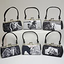 Mini Bag - Black / White High Quality Photos Of Horses & Ponies Printed On Fine Fabrics - Matching Colour Rhinestones Mounted On One Side - Great As A Birthday Or Christmas Present For A Child