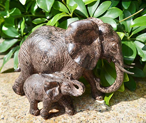 ShabbyDecor Resin Elephant Statue Decoration,Size 8.7x4.5x6.2 Inch,Brown Color