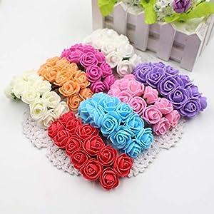 Hydragea Wreath Mini Lidl 12pcs/lot New Hot 2cm Head Multicolor PE Foam Mini Artificial Rose Flowers Bouquet Wedding Decorative Flowers Wreaths (Random) 31