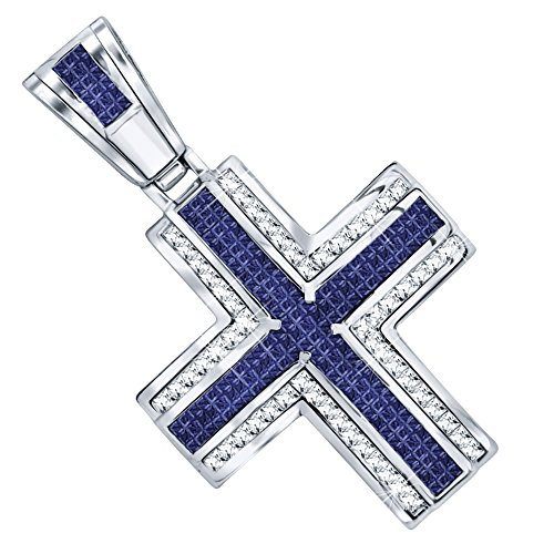 Men's Sterling Silver .925 Original Design Iced Out Large Cross Pendant with 80 White and Blue Cubic Zirconia Stones. Large Bail for Wide Chains, Hand Polished, Platinum - Sterling Silver Out Cross