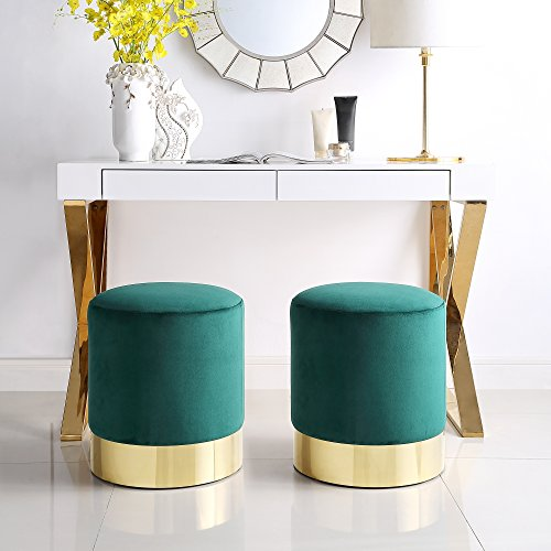 Contemporary Upholstered Round Chair - Inspired Home Elsa Green Velvet Round Ottoman - Gold Metal Base | Upholstered | Modern | Contemporary | 1 pc ONLY