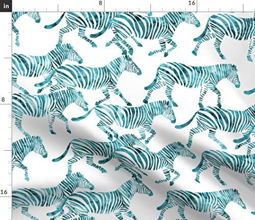 Spoonflower Zebra Fabric - Watercolor Endangered Species Safari Animal Endangered Species Zebra Teal Trendy Watercolor by Littlearrowdesign Printed on Minky Fabric by The Yard ()